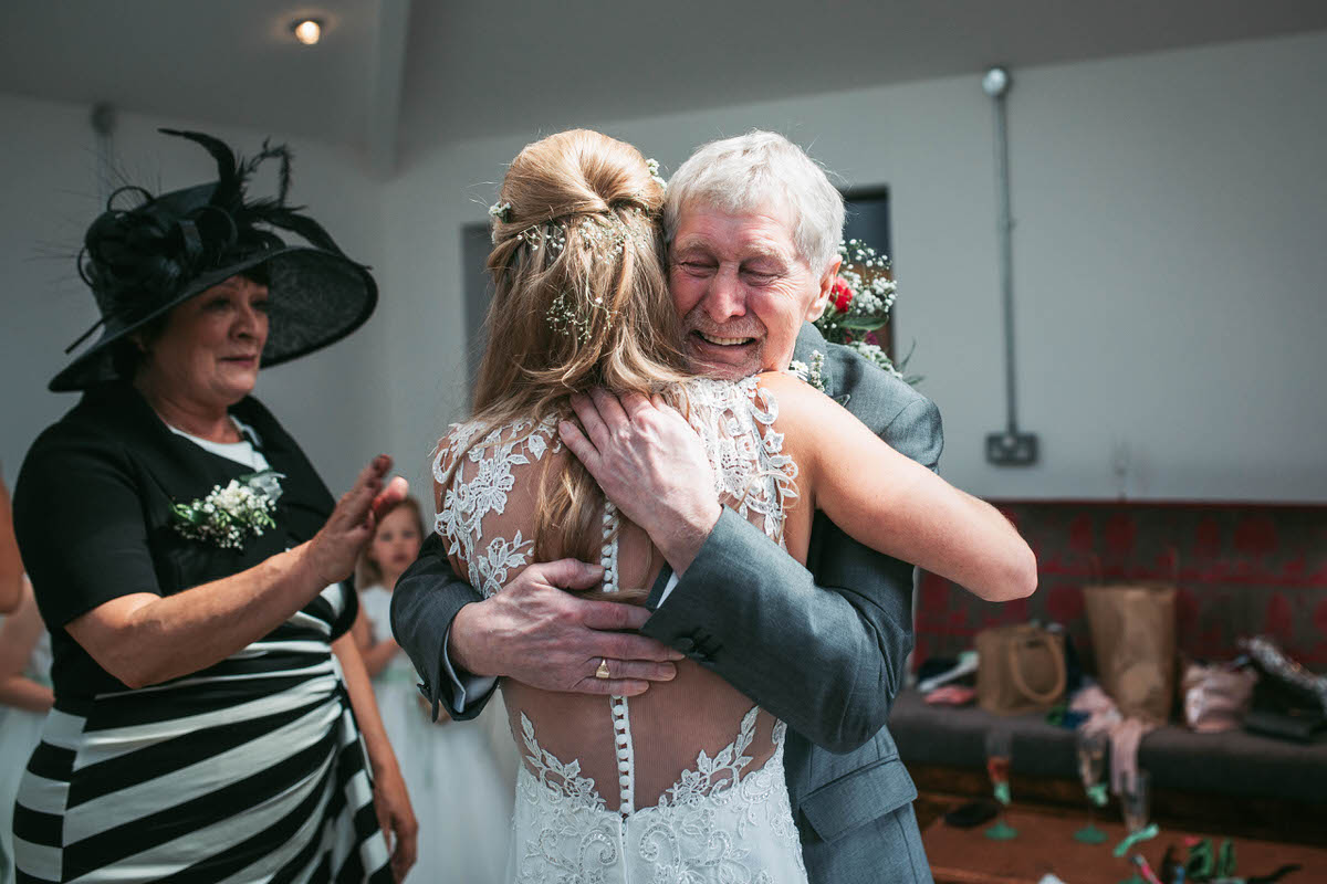 Bride's dad gets emotional when he see's her in her dress