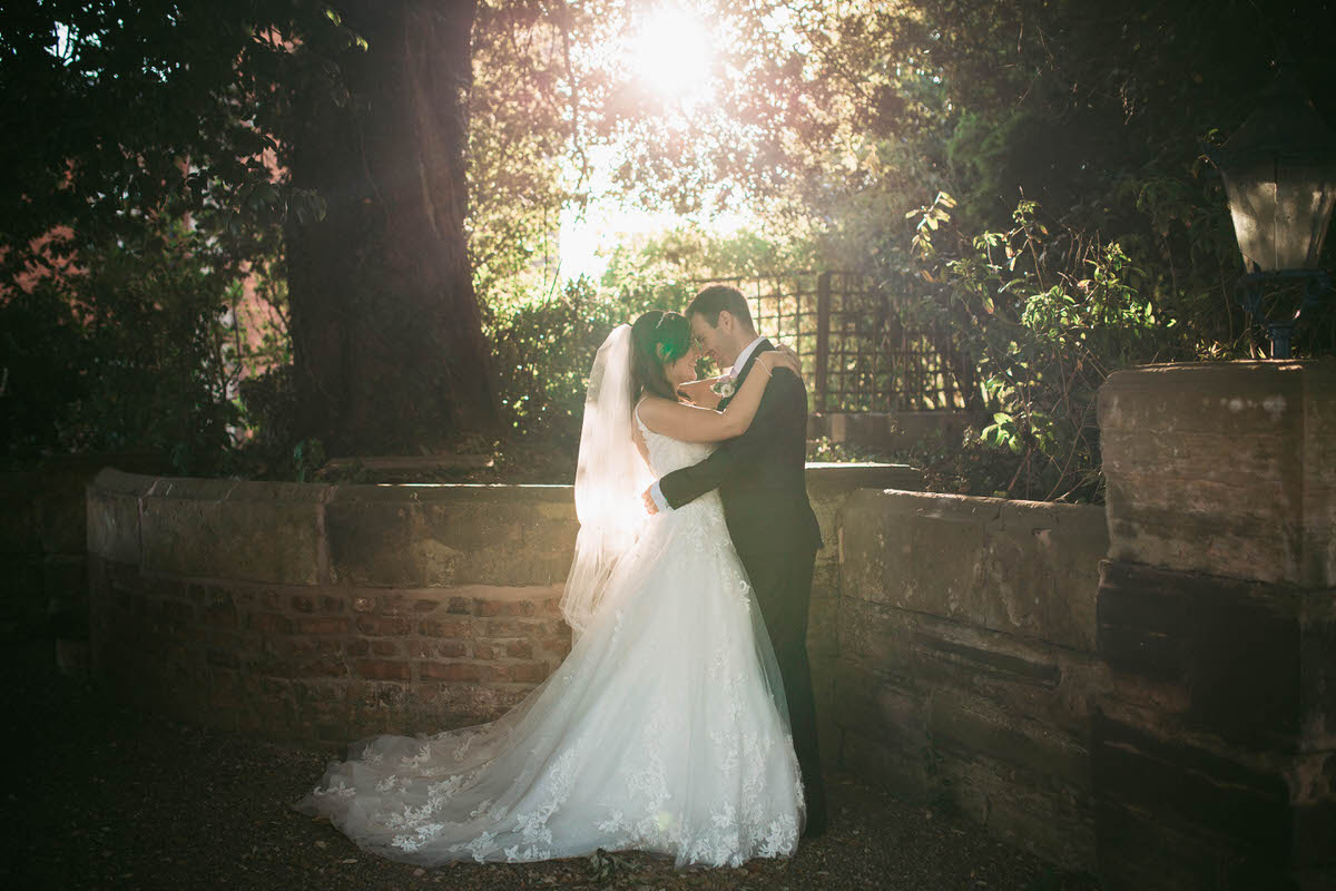 gorgeous sunset golden hour light for bride and grooms couple photos at willington hall in cheshire