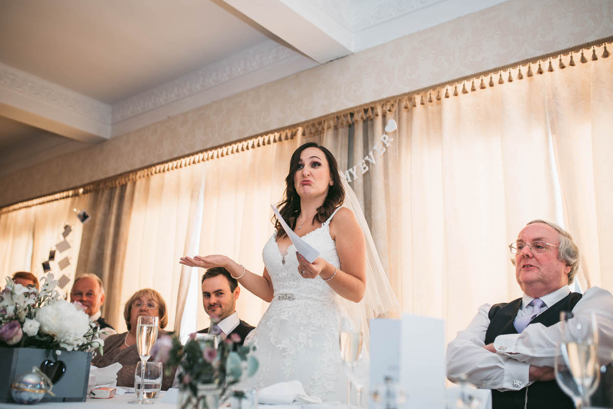 Bride makes her own speech at willington hall cheshire on her wedding day
